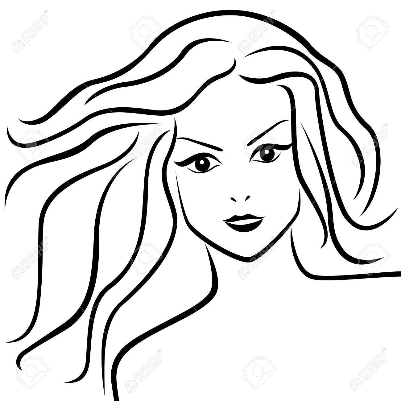 1300x1300 Abstract Portrait Of Young Woman With Flowing Hair, Hand Drawing