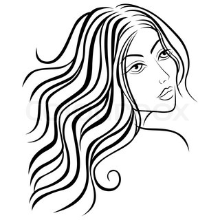 320x320 Black And Grey Silhouette Of Female Head With Flowing Hair, Hand