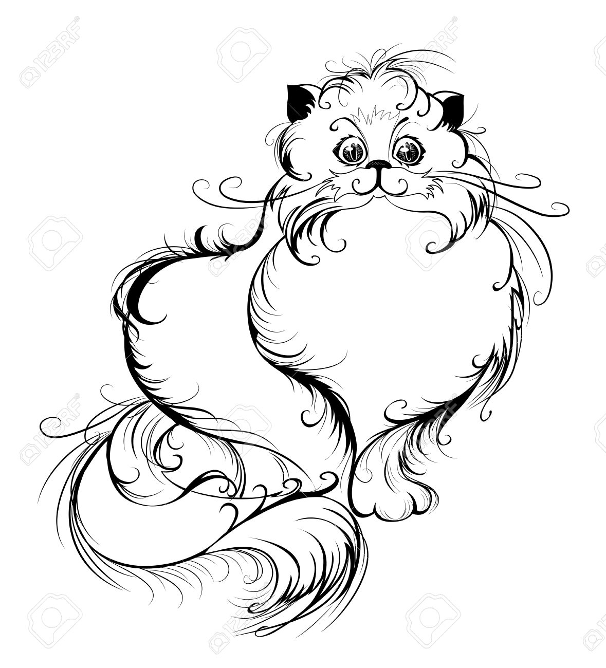 1179x1300 Artistically Drawn, Thin Black Lines Smooth, Fluffy Persian Cat
