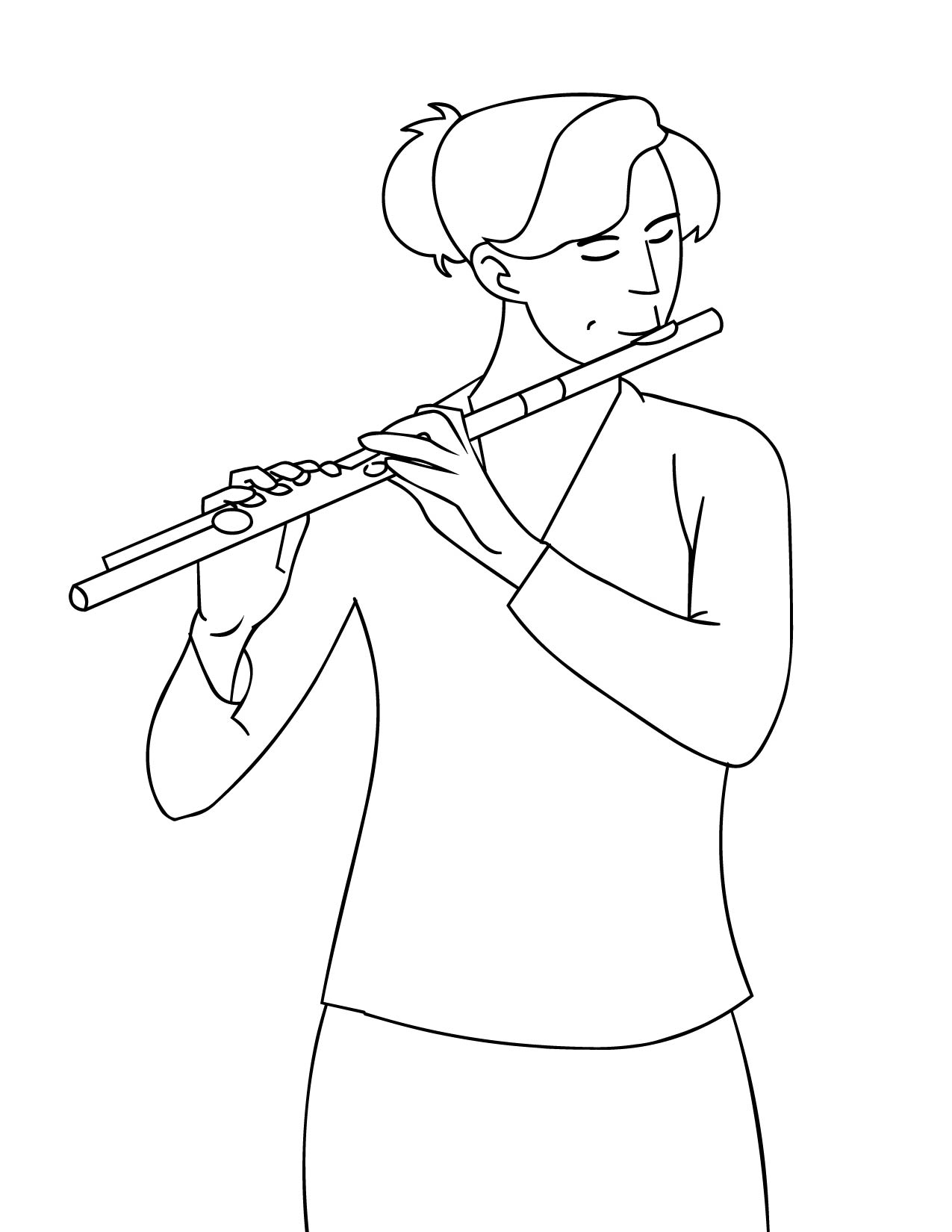 1275x1650 Flute Coloring Pages