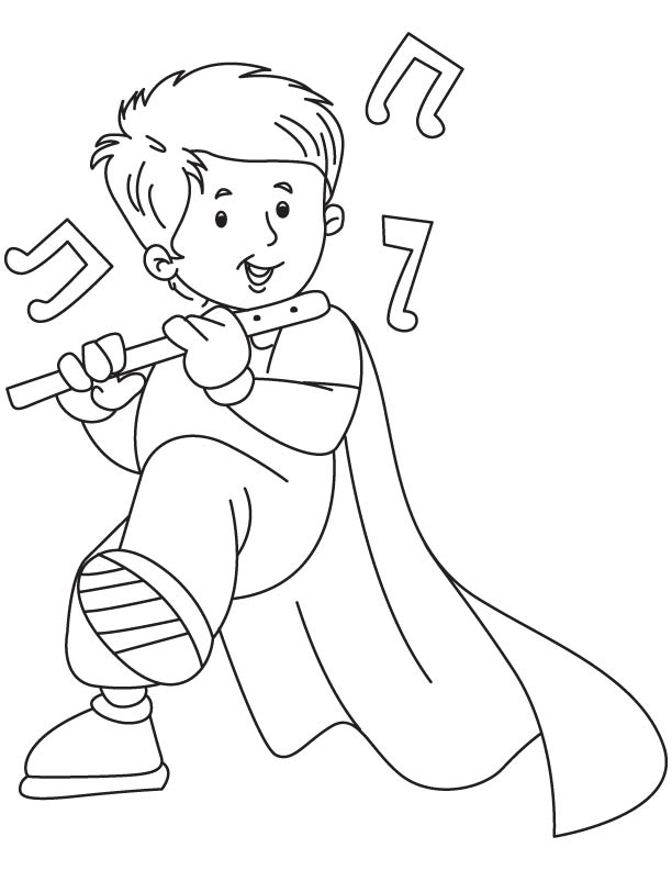 612x792 Boy Playing Flute Coloring Page Coloring Pages