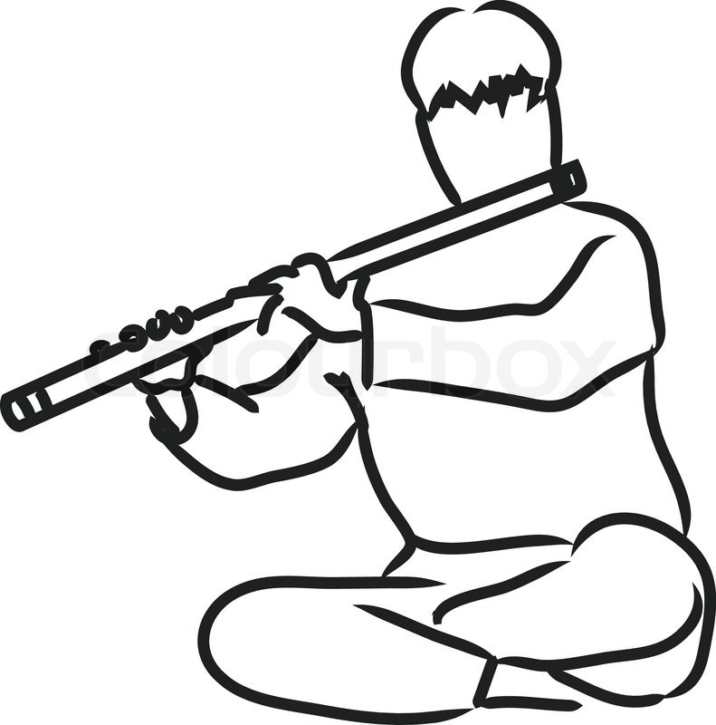 791x800 Vector Silhouette Of Indian Musician Playing Flute Stock Vector