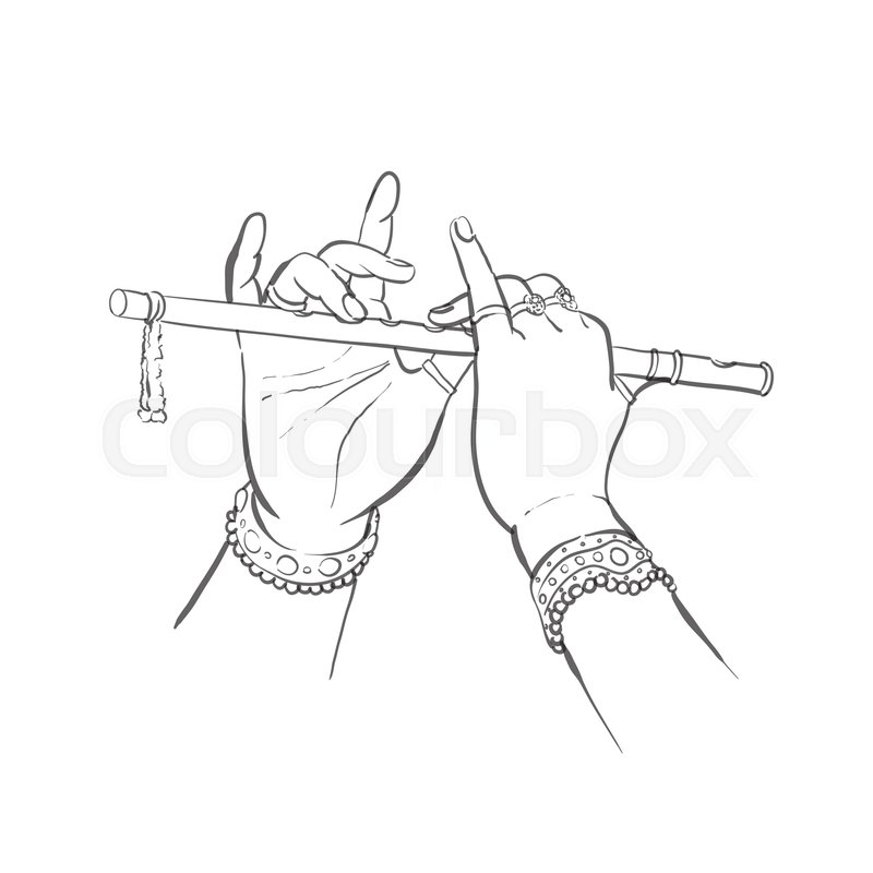 800x800 Divine Hands Of Krishna With Flute On White Background In Sketch