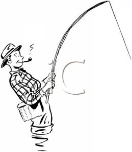 259x300 Retro Cartoon Of A Male Fly Fisherman