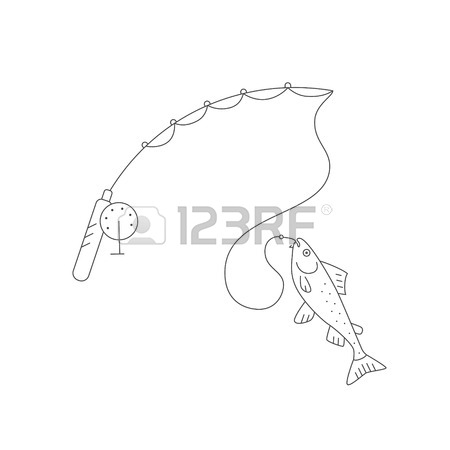 450x450 Vector Illustration Of A Fishing Rod And Other Fishing Gear