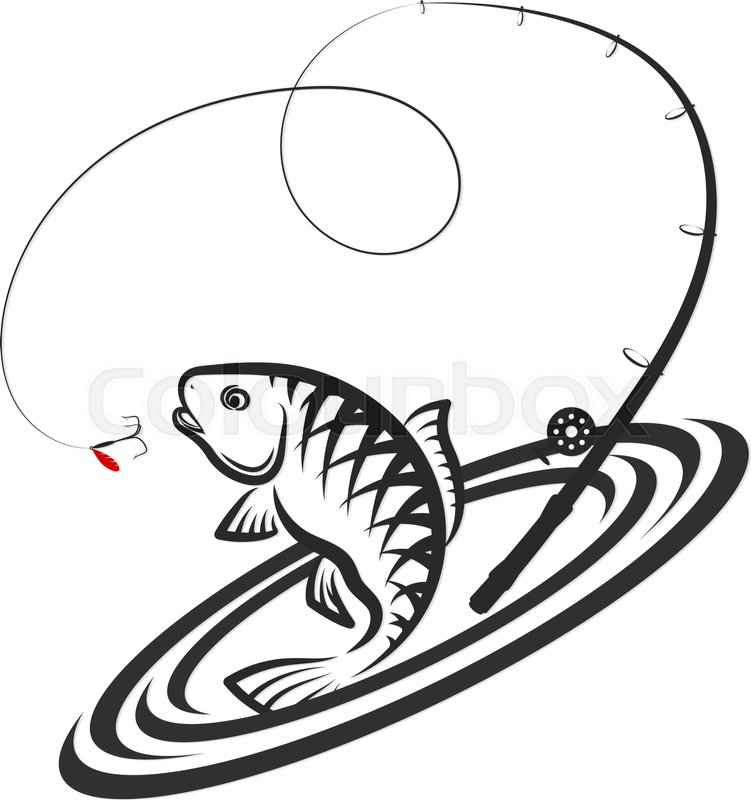 751x800 Fish Jumping For Bait And Fishing Rod Design Stock Vector