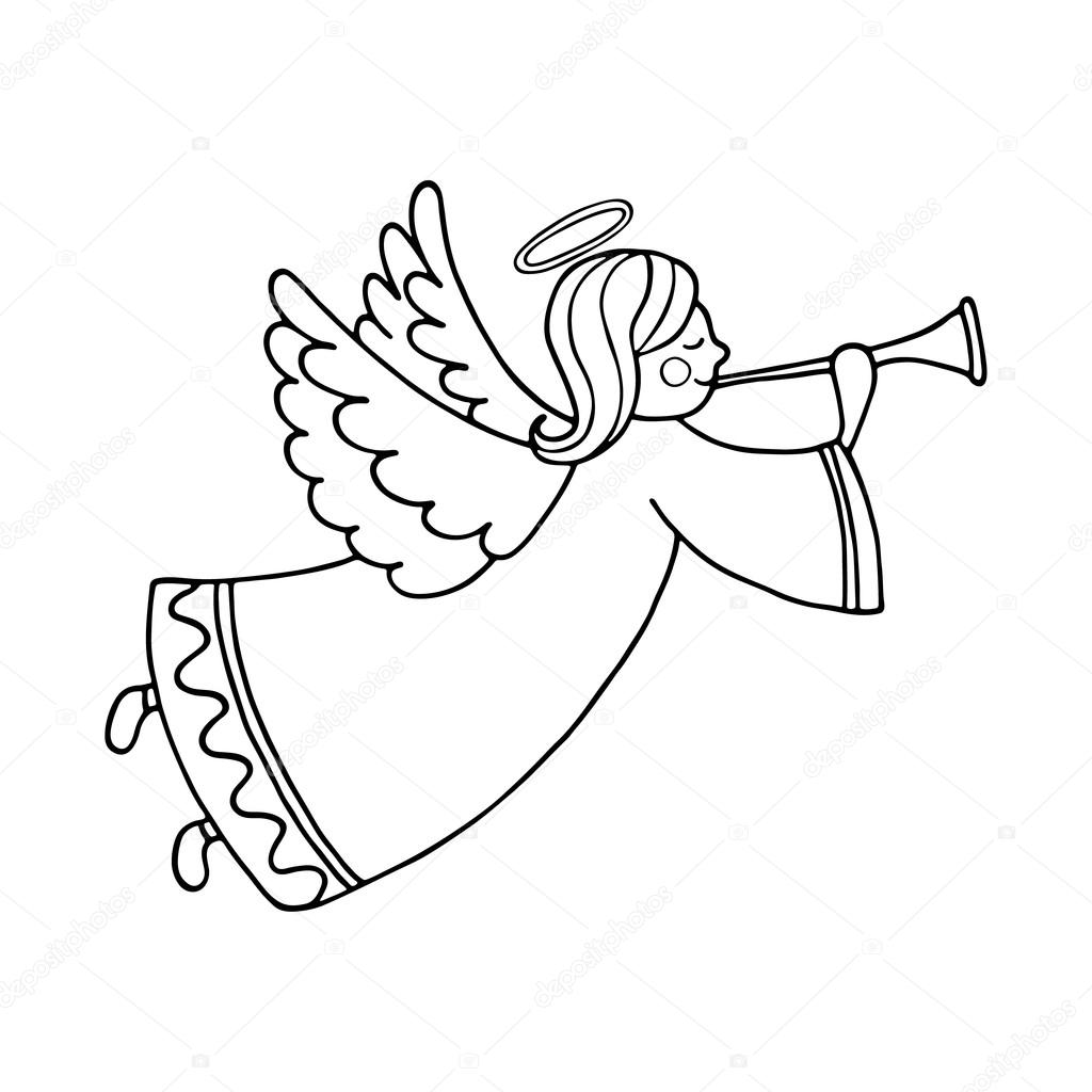 1024x1024 Cute Flying Angel With Flute Stock Vector Arnica83