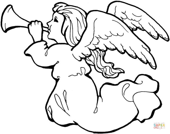720x566 Flying Angel With Trumpet Coloring Page Free Printable Coloring