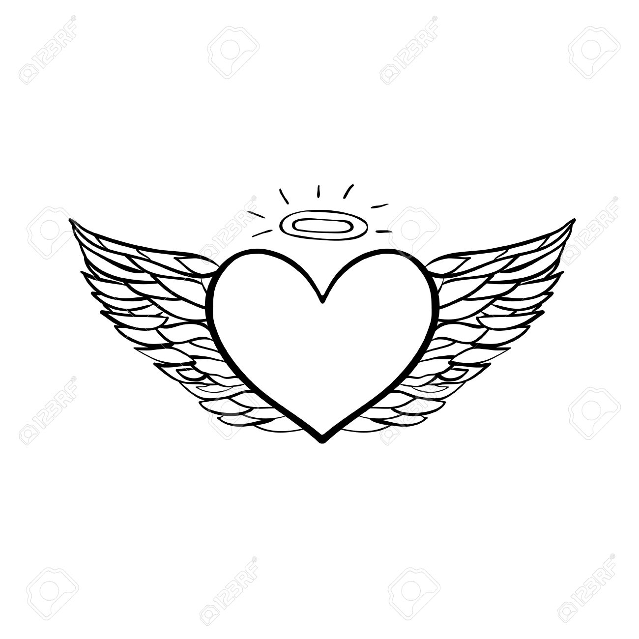 1300x1300 Vector Hand Drawn Flying Angel Heart. Black Sketch On White
