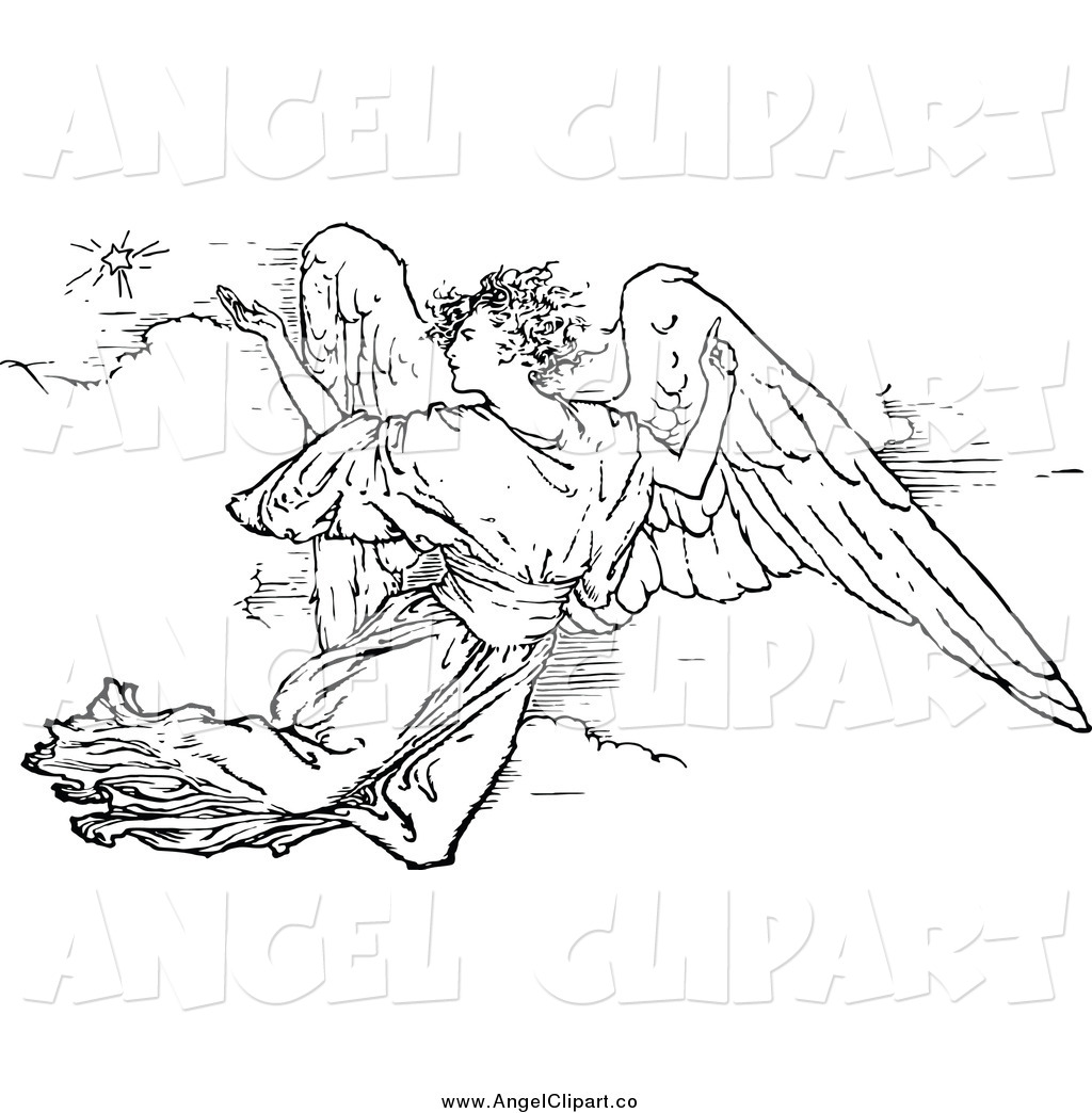1024x1044 Clip Art Of A Black And White Flying Angel By Prawny Vintage