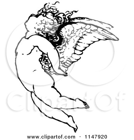 450x470 Clipart Of A Retro Vintage Black And White Cherub Angel And Wings