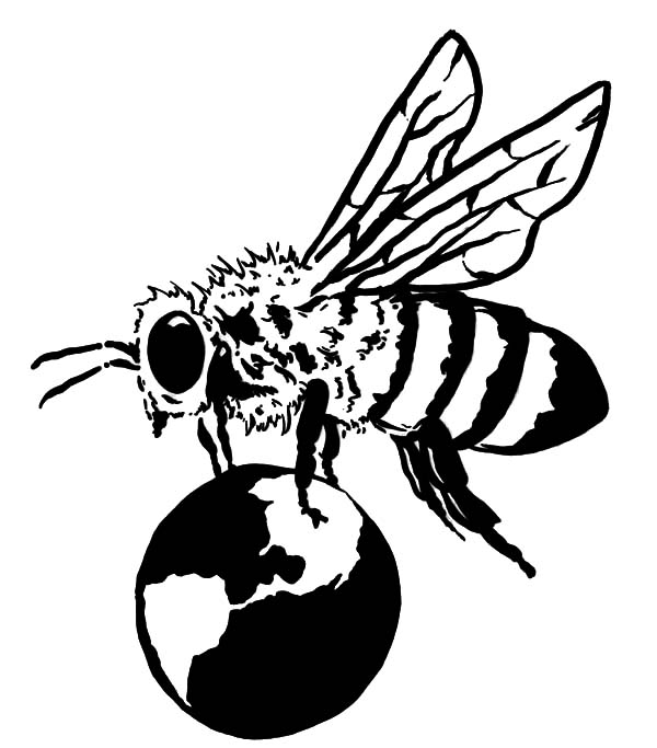 600x683 Flying Honey Bee Coloring Pages Coloring Sky