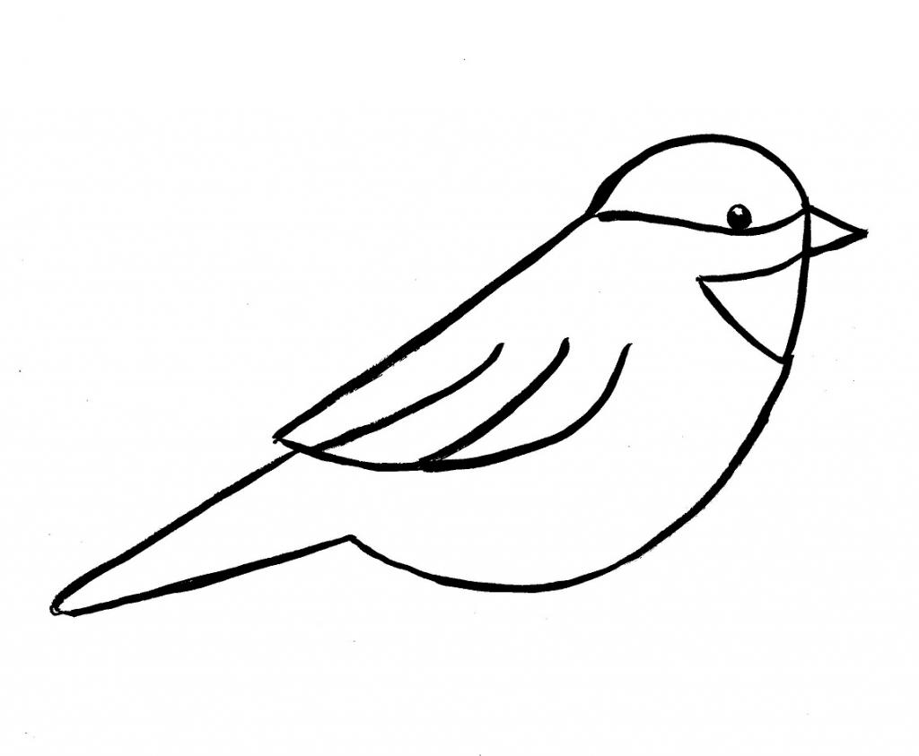 1024x843 Easy Sketch Of Birds Easy Drawing Of Birds Simple Flying Bird