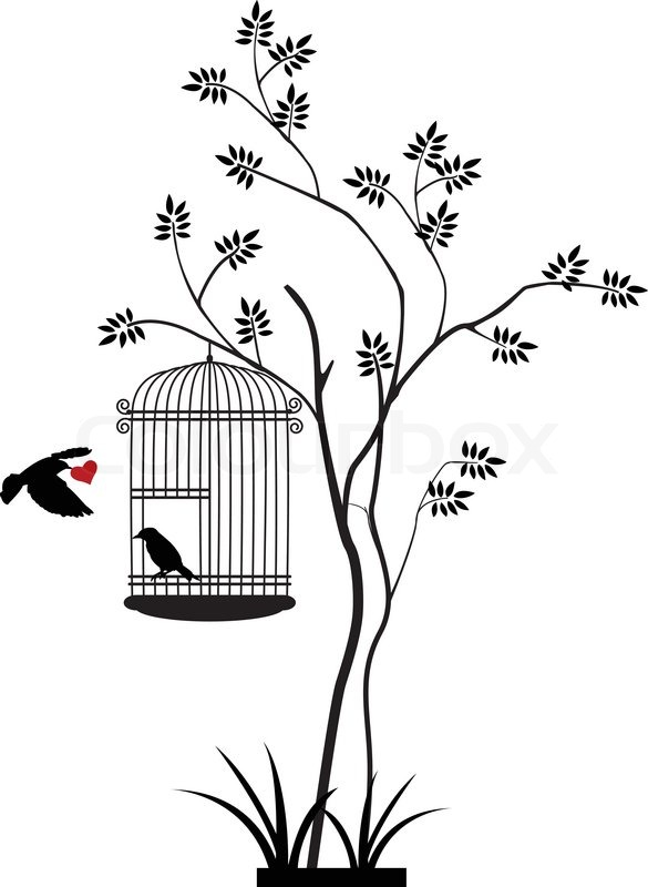 585x800 Vector Illustration Of Illustration Flying Birds With A Love