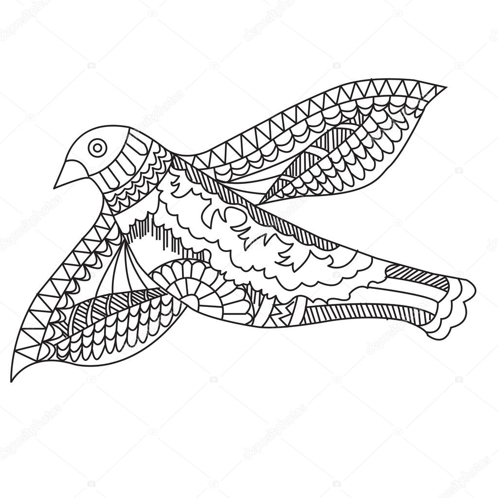 1024x1024 Doodle Drawing Flying Birds, Vector Illustration Stock Vector