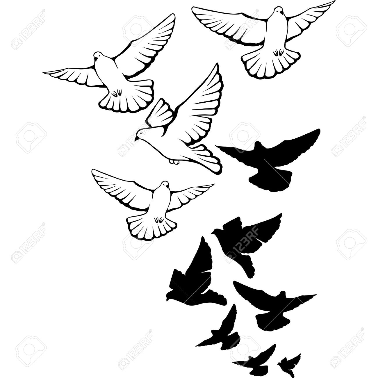1300x1300 Flying Pigeons Background Hand Drawn Royalty Free Cliparts