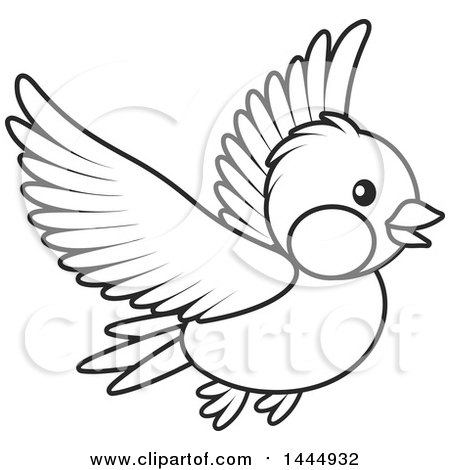 450x470 Clipart Of A Cartoon Black And White Flying Bird