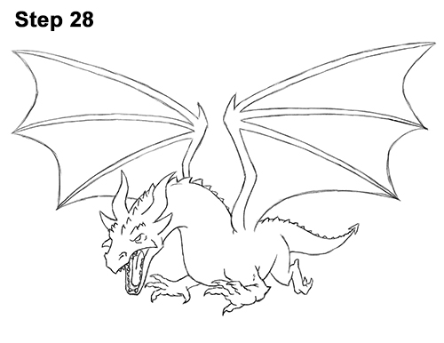 500x386 How To Draw A Dragon (Flying)