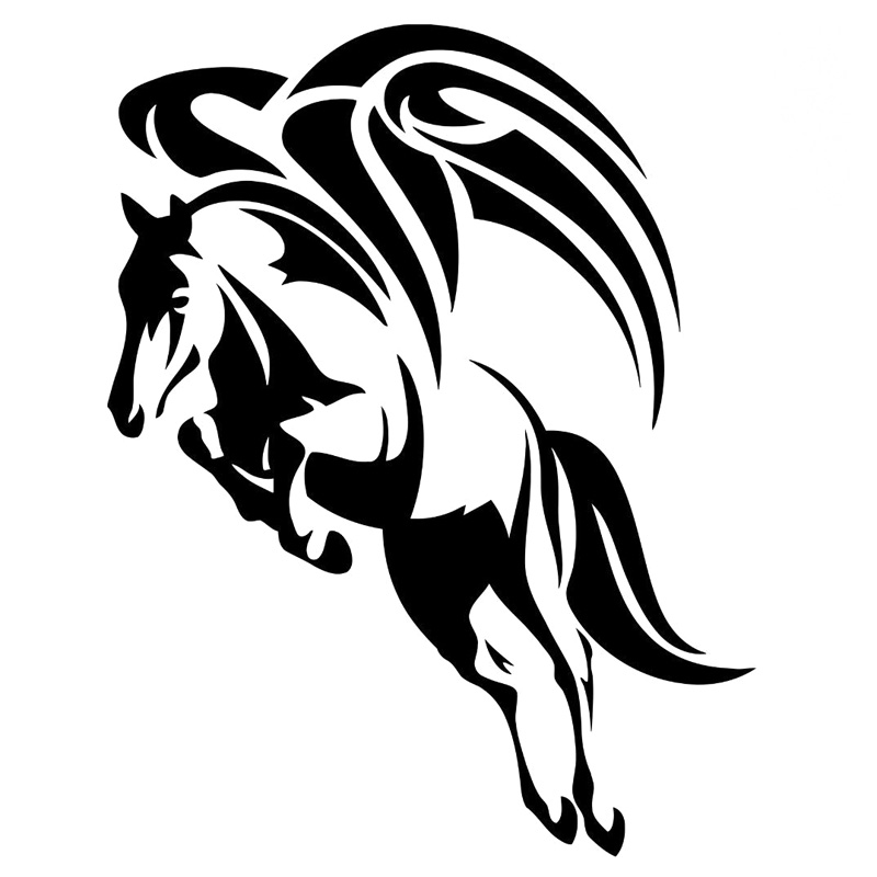 800x800 12.5cm16cm Wings Flying Horse Stickers Vinyl Car Styling Decal