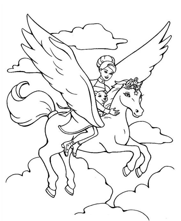 740x900 Flying Horse Coloring Pages Horse Crafts Free