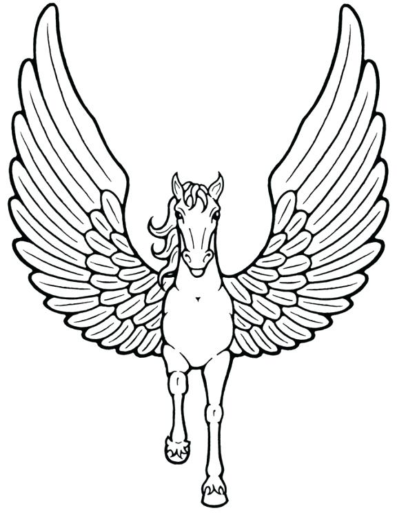 576x747 Flying Horse Coloring Pages Unicorn With Wings