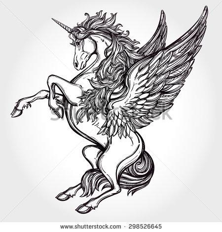 450x470 Hand Drawn Vintage Unicorn Mythological Magic Winged Horse