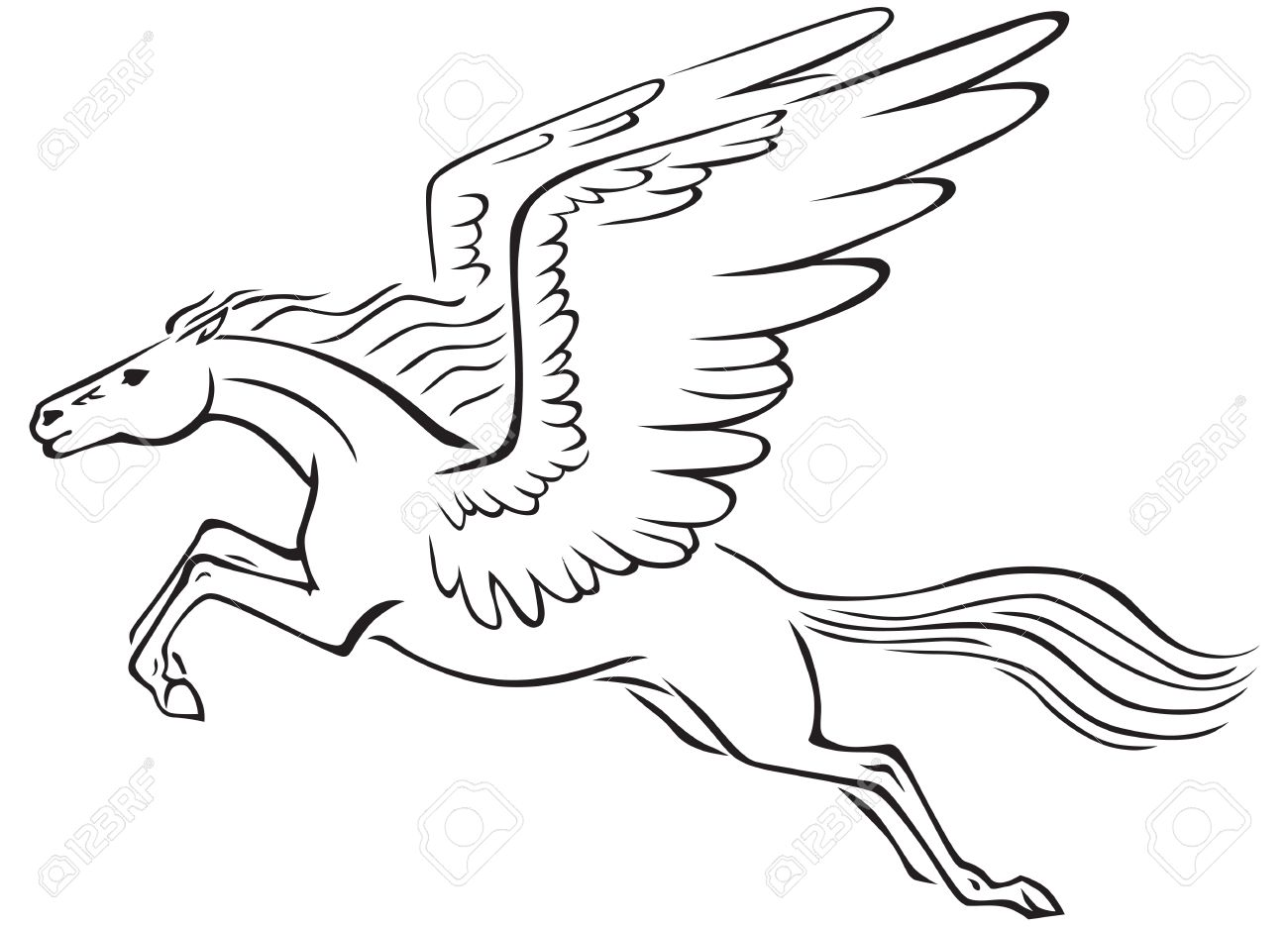 1300x936 Black And White Line Art Image Of A Winged Horse Pegasus Royalty