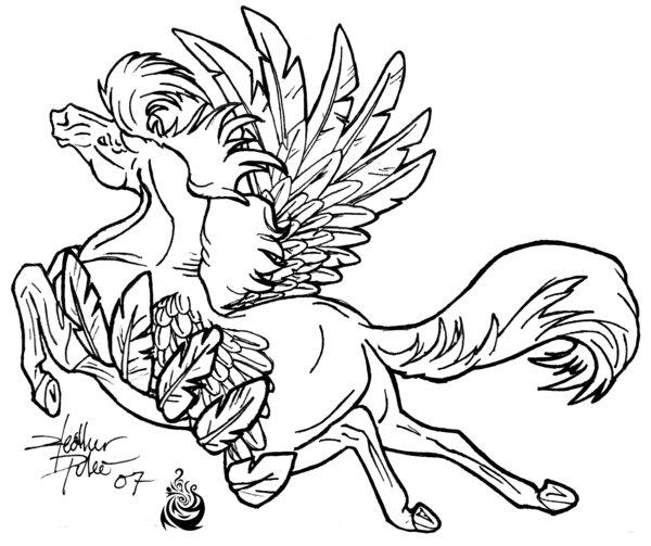 600x503 Flying Horse Lineart By Beautygirl1510