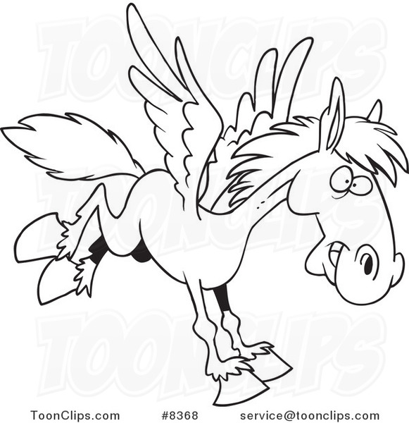 581x600 Cartoon Black And White Line Drawing Of A Winged Horse Flying