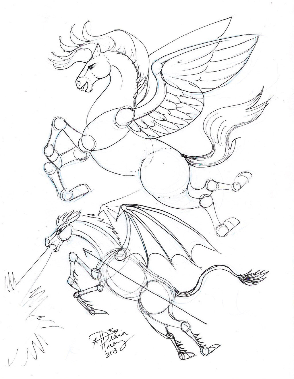 1024x1319 Draw Flying Horse By Diana On @