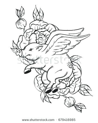 Flying Pig Drawing At Getdrawings Com Free For Personal Use Flying