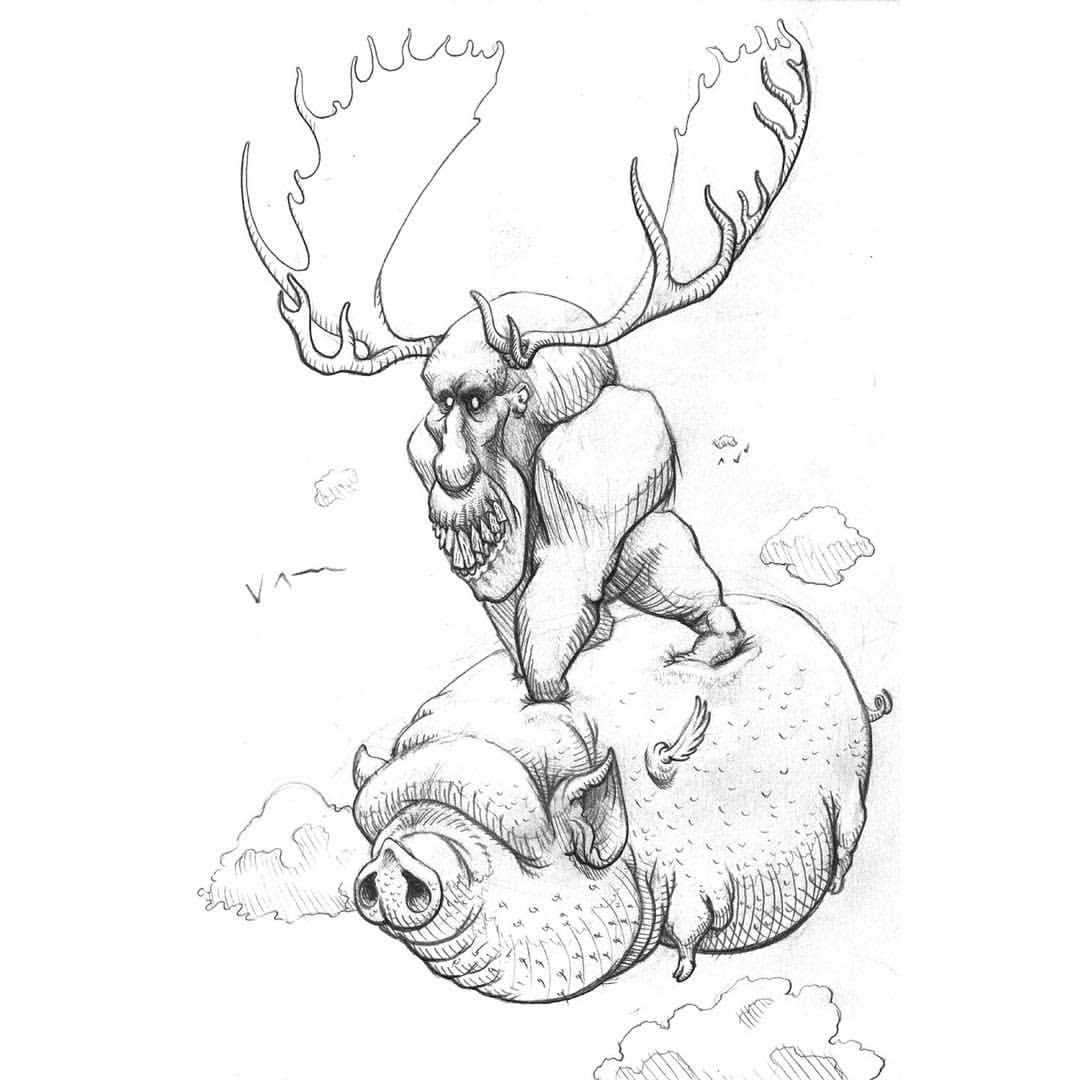 Flying Pigs Drawing
