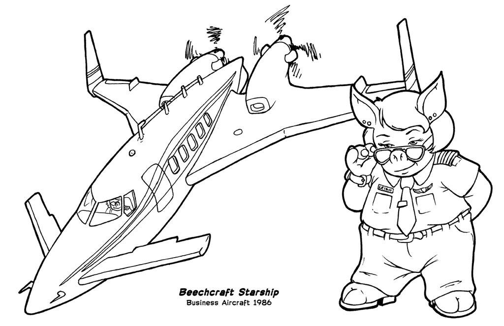 1024x663 Flying Pigs Coloring Poster Beechcraft Starship By Barkon68