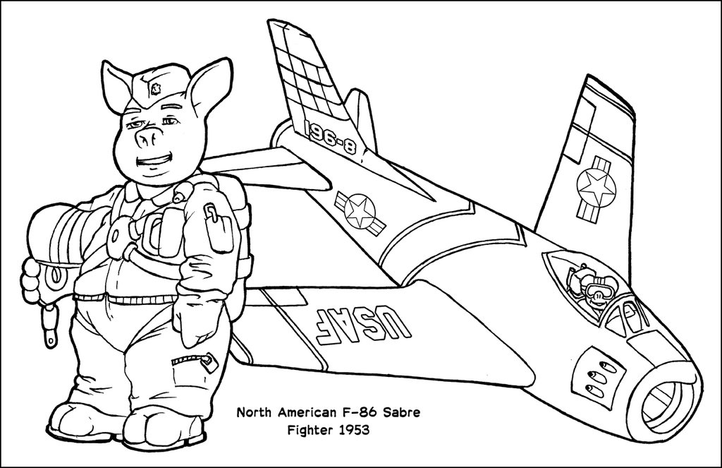 1024x663 Flying Pigs Coloring Poster F 86 Sabre By Barkon68