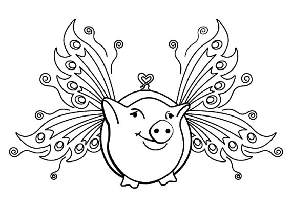 570x407 Flying Pig Medium With Fairy Wings Cling Rubber Stamp