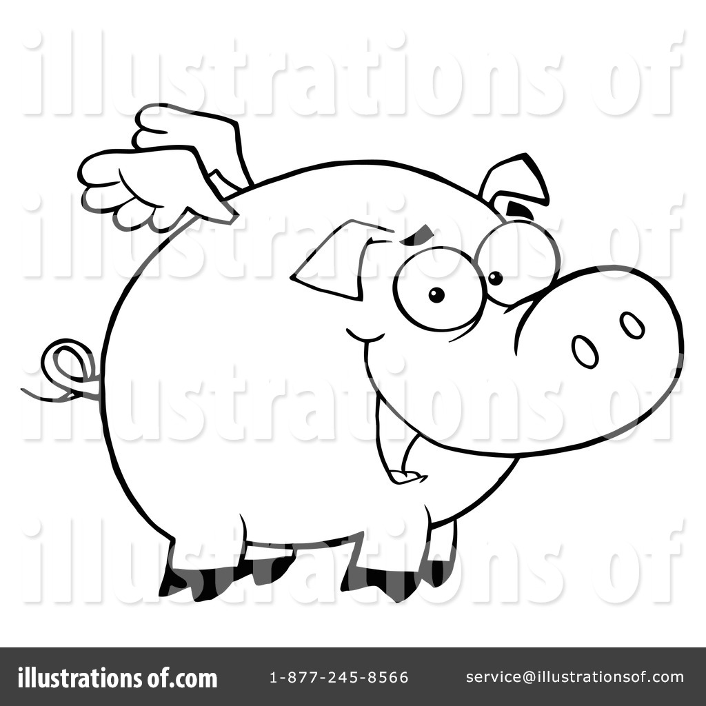 1024x1024 Flying Pig Clipart