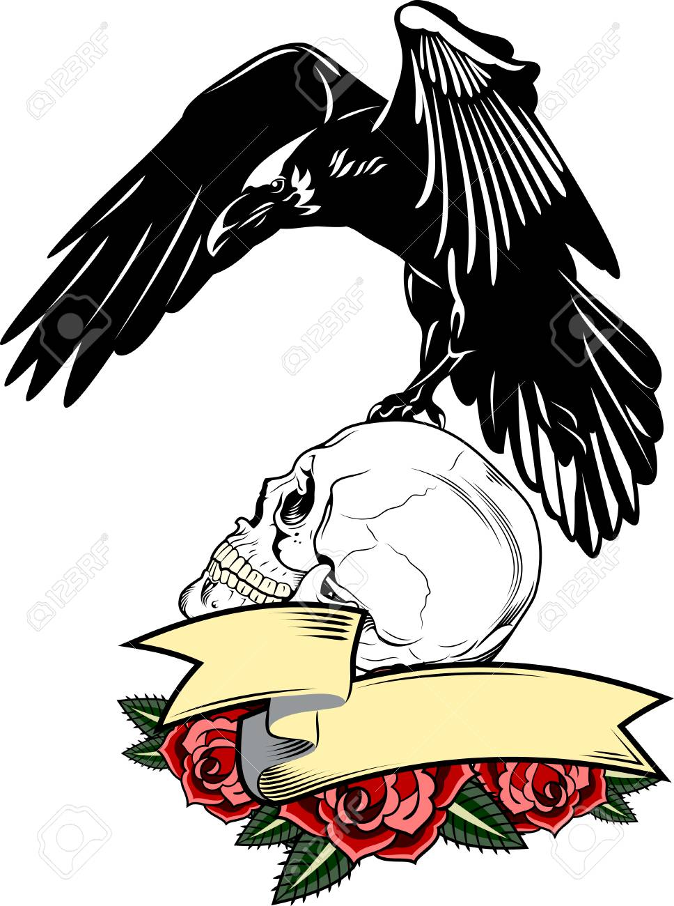 968x1300 Portrait Of A Raven Flying With A Banner, Roses And A Skull