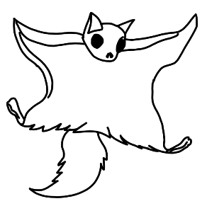 Flying squirrel drawing at free for for Flying squirrel coloring page