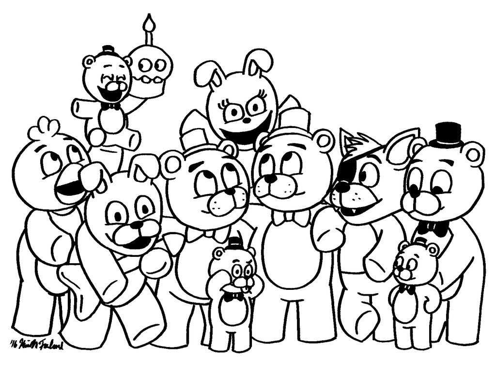 1024x784 Fnaf Coloring Pages