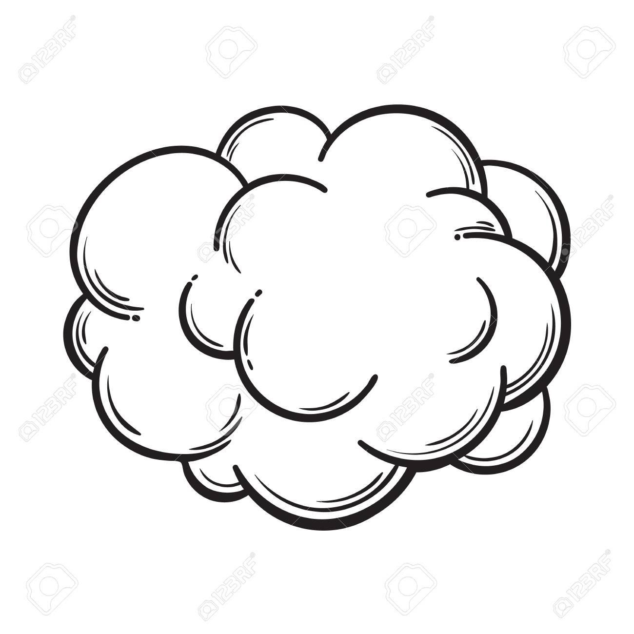 1300x1300 Hand Drawn Fog, Smoke Cloud, Black And White Comic Style Sketch