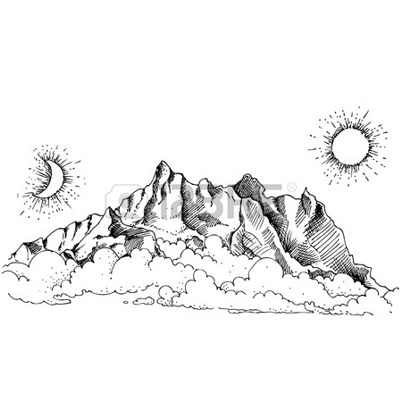 450x450 Landscape With Fog And Mountains. Sketch. Royalty Free Cliparts