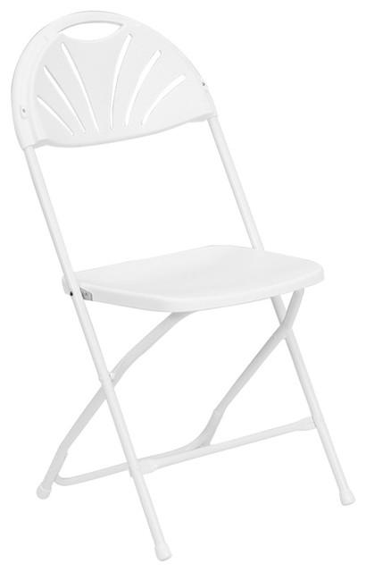 410x640 Hercules Series 800 Lb. Capacity White Fan Back Folding Chair