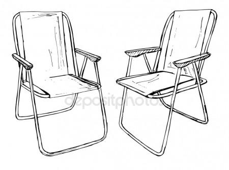 450x334 Two Folding Chairs On A White Background Isolation. Vector