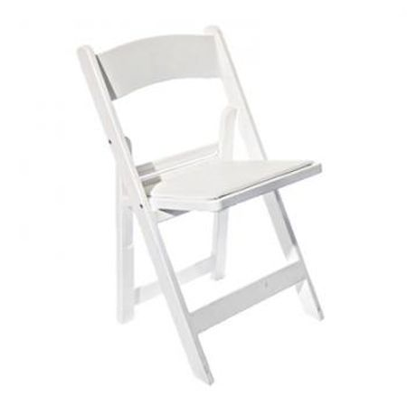 450x450 White Padded Folding Chairs Perry's Hire