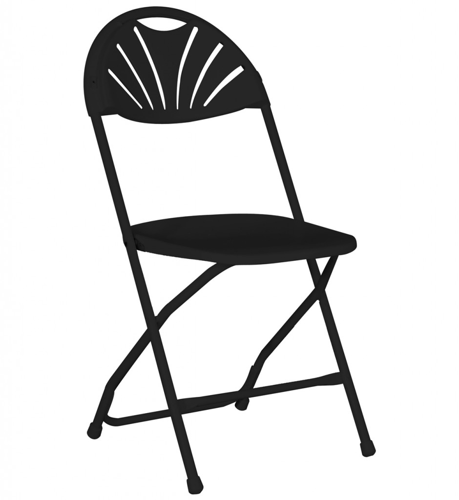 940x1024 Fanback Folding Chair Black