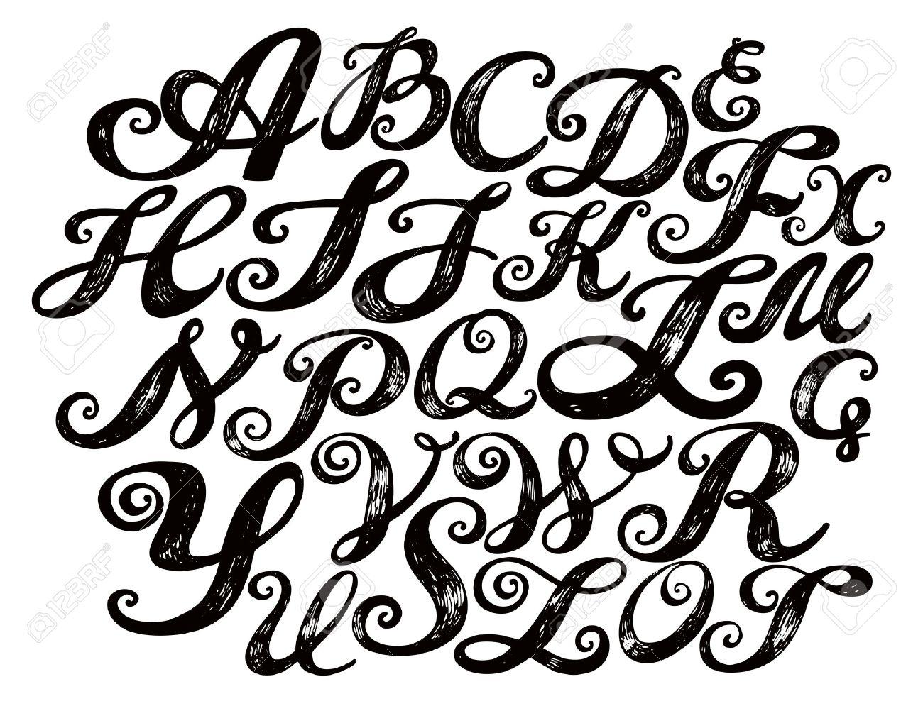 1300x1002 Calligraphy Alphabet Typeset Lettering. Hand Drawn Alphabet