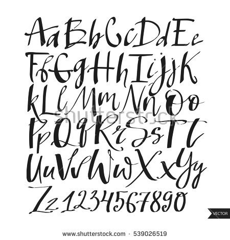 450x470 Alphabet Lettersblack Handwritten Font Drawn Liquid Stock Vector