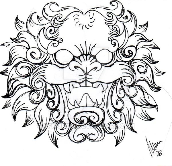 600x580 Foo Dog Head Sketch By Dfmurcia