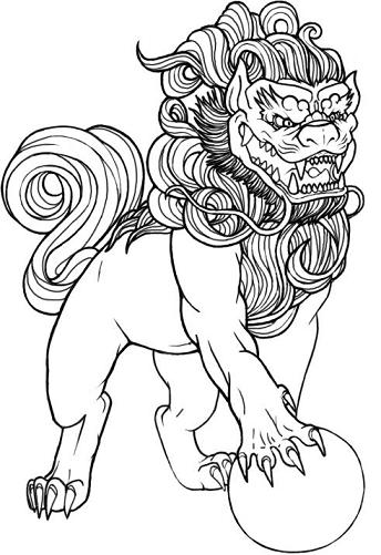 344x501 Fu Doglion Coloring Pages Tattoo, Tattoo Themes