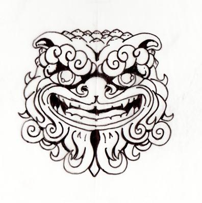 396x398 Foo Dog Drawing
